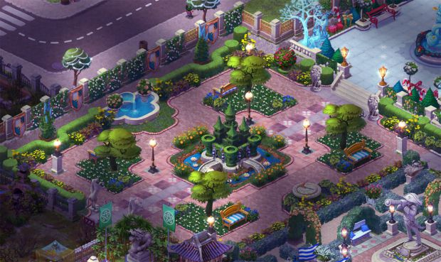 完成したエリア4の庭・夜景:ガーデンスケイプ (Gardenscapes)