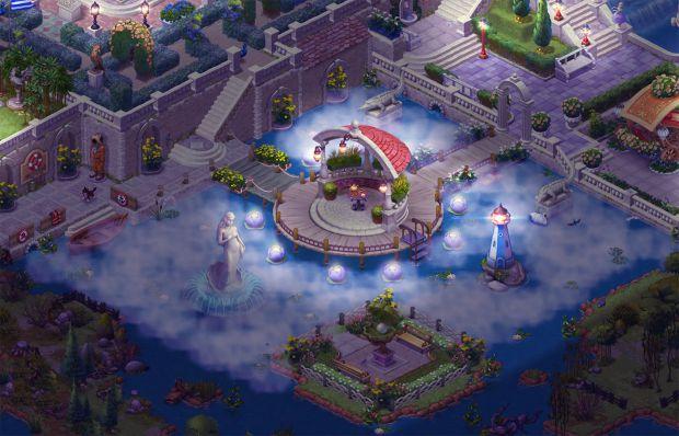 完成したエリア6の庭・夜景:ガーデンスケイプ (Gardenscapes)