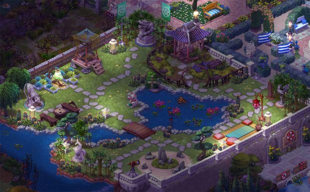 4日目まで完成したエリア8の庭・夜景:ガーデンスケイプ (Gardenscapes)