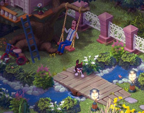 エリア2、ツリーハウスの庭で、夜のブランコを楽しむオースティン:ガーデンスケイプ (Gardenscapes)