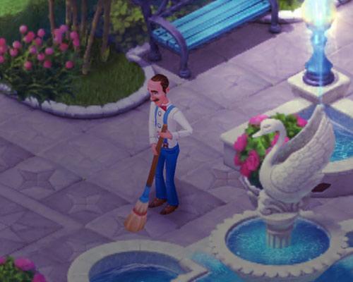 噴水周りのタイルを掃き掃除するオースティン:ガーデンスケイプ (Gardenscapes)