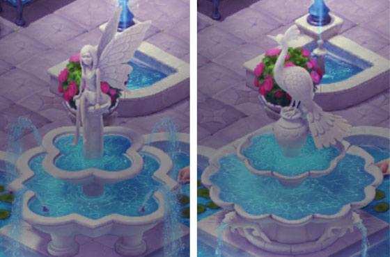 新しい噴水デザインの、妖精とクジャク:ガーデンスケイプ (Gardenscapes)