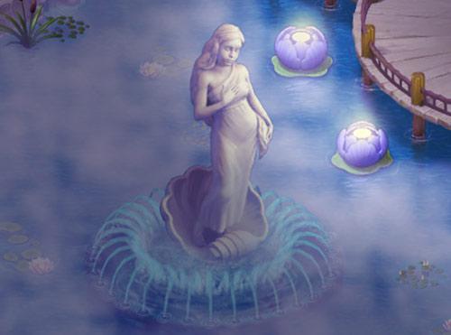 霧たち込める池で幻想的に輝くスイレンとヴィーナス像:ガーデンスケイプ (Gardenscapes)