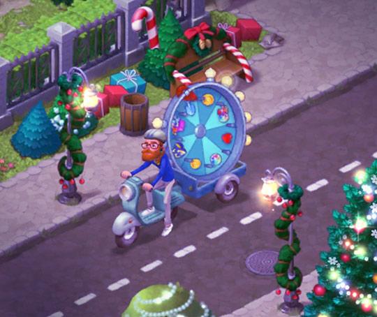 クリスマス装飾の街並みを眺める、ラッキースピンバイカーのエイナル・ダビッドソン:ガーデンスケイプ (Gardenscapes)