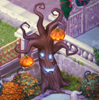 ハロウィン装飾「恐怖の公園」の、光るお化けの木:ガーデンスケイプ (Gardenscapes)