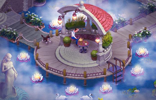 エリア6、池の庭の幻想的な夜景:ガーデンスケイプ (Gardenscapes)