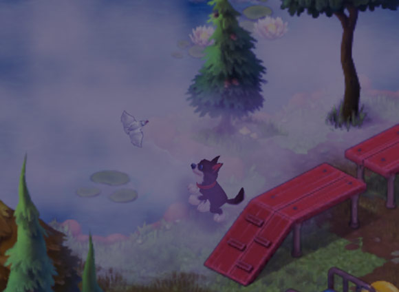 池に漂う霧にまみれてはしゃぐ犬と小鳥:ガーデンスケイプ (Gardenscapes)