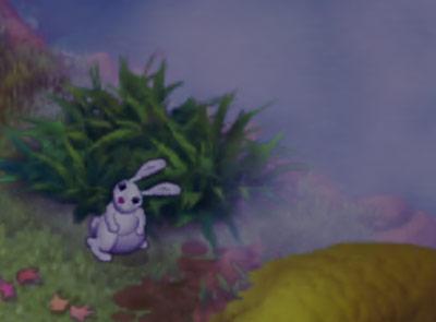 霧がかった池のほとりで首をかしげるウサギ:ガーデンスケイプ (Gardenscapes)