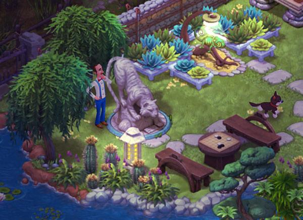 虎の像とカメレオンのいる庭の夜景を眺めるオースティン:ガーデンスケイプ (Gardenscapes)