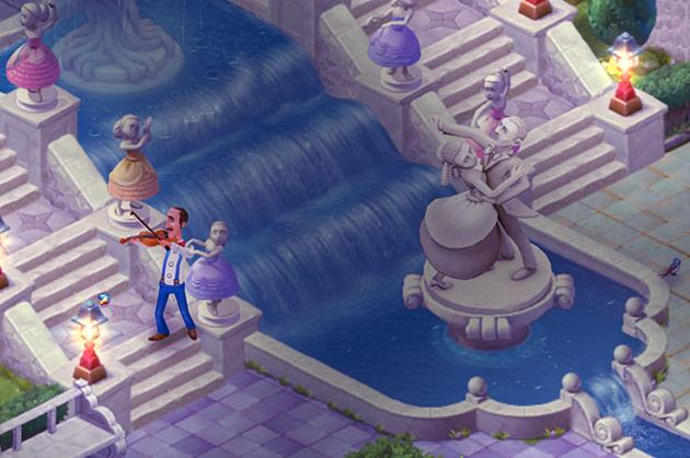輝く滝と優雅に踊る像たちの庭でバイオリンを演奏するオースティン:ガーデンスケイプ (Gardenscapes)