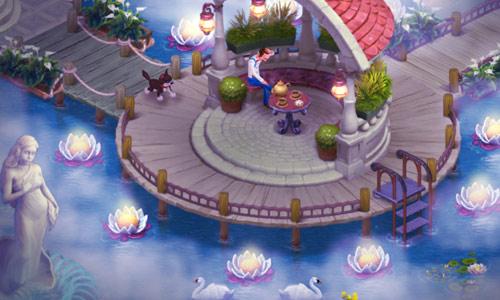 夜霧に淡く光るスイレンがきれいな夜景のエリア6の庭:ガーデンスケイプ (Gardenscapes)
