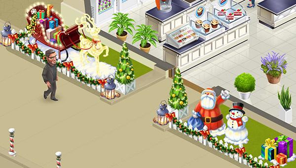サンタやそり、ぴかぴかのトナカイが飾られた、カフェのエントランス。前を歩くKoffskyもなんだか嬉しそう(My Cafe: Recipes & Stories)