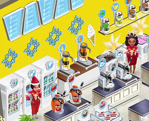 白でそろえた冷蔵庫とアイスクリームボックスの前にたつ、クリスマスファッションのスタッフ。Olga & Angelina(My Cafe: Recipes & Stories)