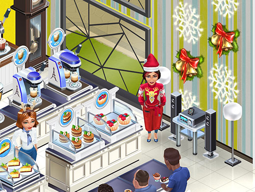 Snowflake と Christmas Bells を飾った壁の前に立つ、笑顔のバリスタ Angelina。横には、Sound Systemも。(My Cafe: Recipes & Stories)