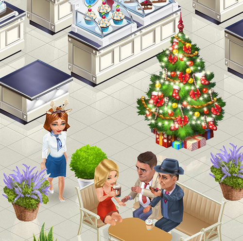 カフェ中央に飾られた Medium Christmas Tree。お客さんもスタッフも嬉しそう。Emily, Henry, Clyde and Elizabeth(My Cafe: Recipes & Stories)