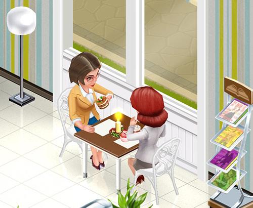 窓際にある、New Year's Candle を飾った Elegy Table for Two。ElsaとAliceのおしゃべりが盛り上がってるみたい(My Cafe: Recipes & Stories)