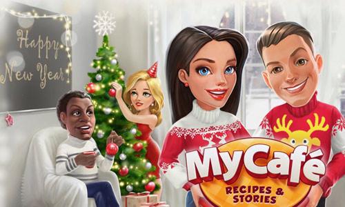 ハッピーニューイヤーとメリークリスマスのタイトル画面(My Cafe: Recipes & Stories)