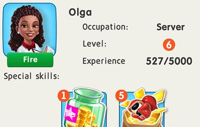 サーバーの Olga。毎日1つGuaranaを獲得するスキルをもつ (My Cafe: Recipes & Stories)