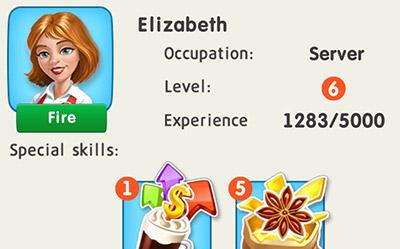サーバーの Elizabeth。毎日1つStar Aniseを獲得するスキルをもつ (My Cafe: Recipes & Stories)