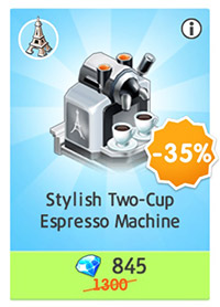 Stylish Two-Cup Espresso Machine for 845 diamonds (My Cafe: Recipes & Stories)