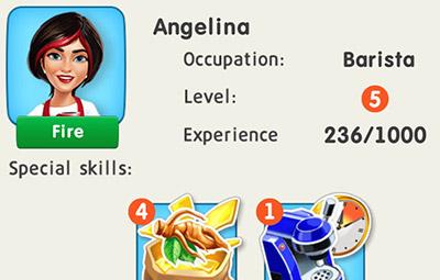 バリスタの Angelina。毎日1つGinsengを獲得するスキルをもつ (My Cafe: Recipes & Stories)