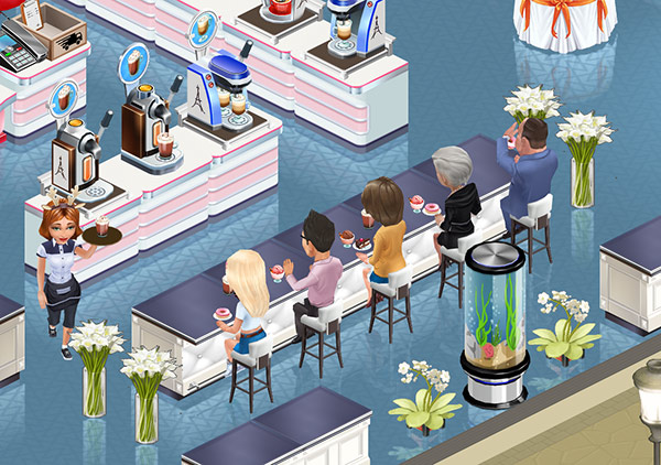 水槽と観葉植物で飾られた Presidential Bar Counter のカウンター席(My Cafe: Recipes & Stories)