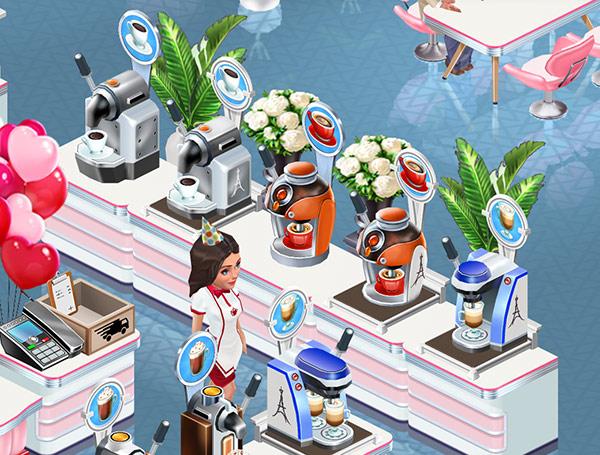 Oak Vase of Flowers や Flamingo Plant で飾られた、ドリンクマシンスタンドの列(My Cafe: Recipes & Stories)