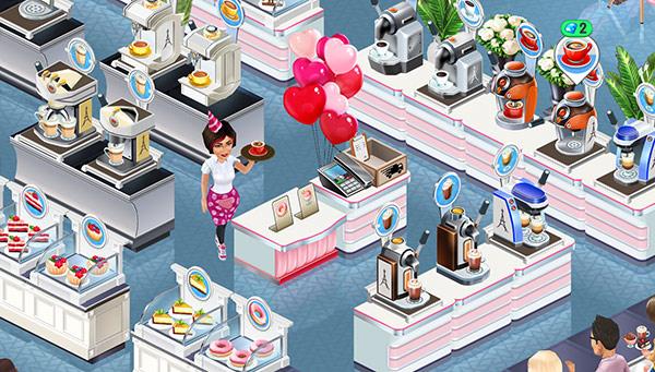 ドリンクマシンやディスプレイケースに囲まれた、Flamingo Service Table と Phone(My Cafe: Recipes & Stories)