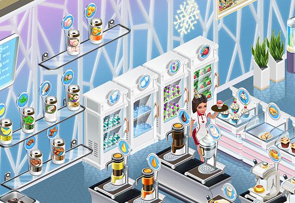 Crystal Wallpaper 前に並ぶ、フレンチスタイルの真っ白な冷蔵庫など(My Cafe: Recipes & Stories)