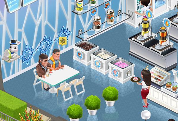 Ice Cream Freezer 前の4人がけ Techno Table でアイスを食べる Petrovich と Carl(My Cafe: Recipes & Stories)