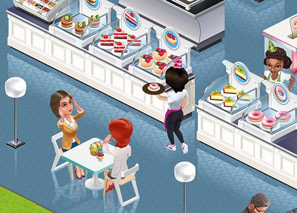 Cakes の Display Cases 前の2人掛け Techno Table で話に花が咲く Elsa と Alice Carroll(My Cafe: Recipes & Stories)