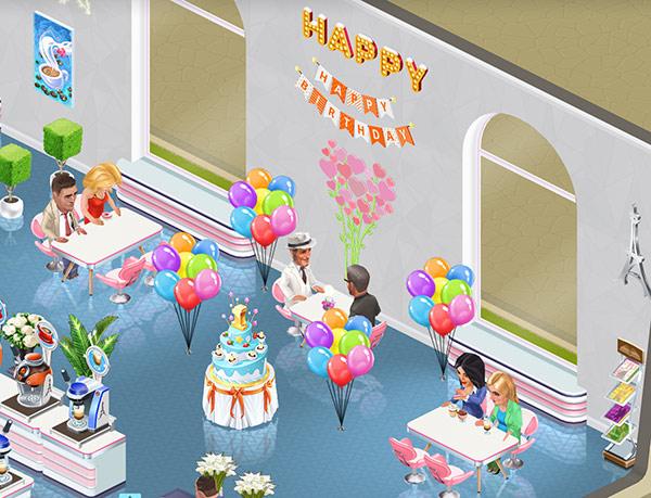 バレンタインや1周年記念の飾りで賑やかなパーティーの主役席(My Cafe: Recipes & Stories)