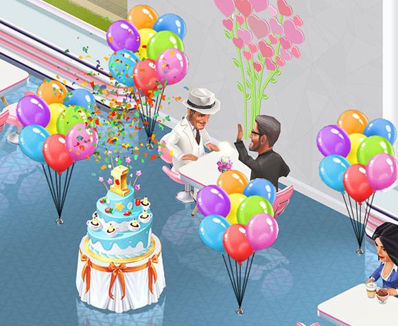 1周年お祝い Birthday Cake から舞い上がる紙吹雪に喜ぶ Koffsky と Fernando(My Cafe: Recipes & Stories)