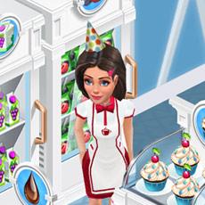 真っ白なフレンチスタイルの冷蔵庫やディスプレイケースに囲まれて微笑む Ann(My Cafe: Recipes & Stories)