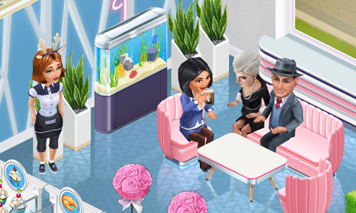Flamingo Couch で涼しげにくつろぐ Clyde Bowen、Felicia Sturm、Jennifer と、それを見守る Server Elizabeth(My Cafe: Recipes & Stories)