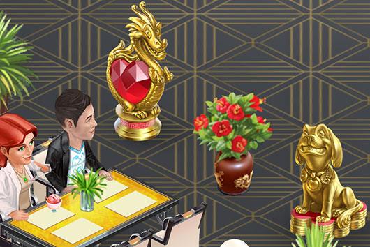 金の犬と赤いドラゴンを見つめるルーカス(マイカフェ:レシピ&ストーリー)