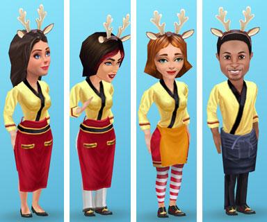 チャイナスタイルのブラウス「サンライズ」と「鹿の角」でコーディネートしたスタッフたち(マイカフェ:レシピ&ストーリー)