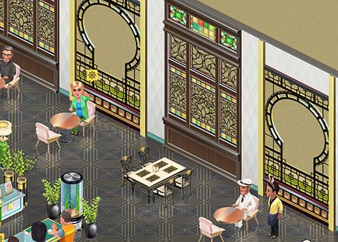 テクノ壁、床 翡翠に、中国風の窓、窓 ヨークシャーを合わせたインテリア(マイカフェ:レシピ&ストーリー)