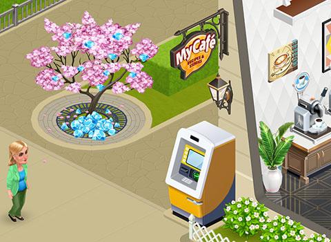 ダイヤの桜、暗色の看板やウォールランタンを眺めながら歩くマーガレット(マイカフェ:レシピ&ストーリー)