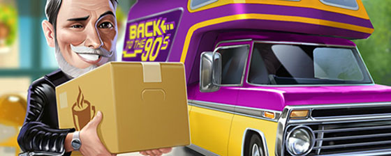 注文を配達するディエゴと90年代スタイルの車(マイカフェ:レシピ&ストーリー)