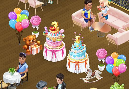 カフェに飾られた、バースデーケーキ、リトルベア、木馬、風船など(マイカフェ:レシピ&ストーリー)