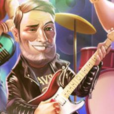 90年代スタイルパーティーでギターを弾くディエゴ(マイカフェ:レシピ&ストーリー)