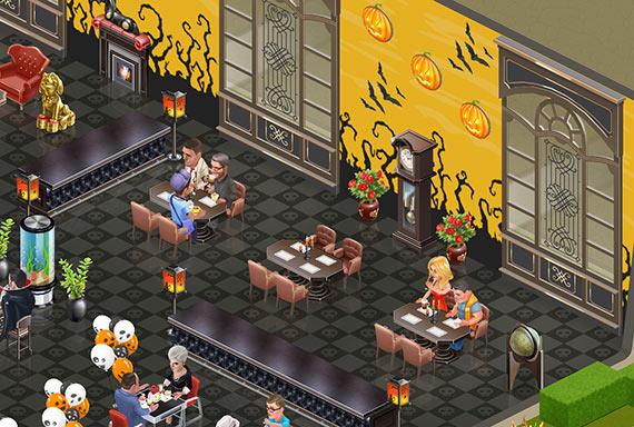 幽霊が出そうな古い洋館風の席(マイカフェ:レシピ&ストーリー)