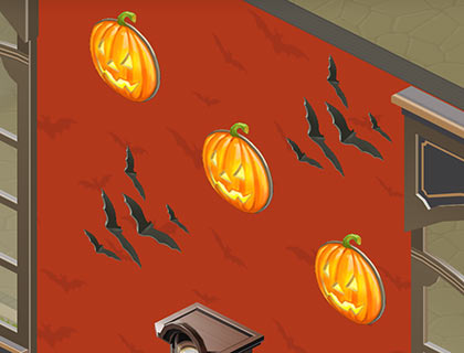 壁紙「ハロウィン」赤、壁掛けかぼちゃランプ、コウモリ(マイカフェ:レシピ&ストーリー)