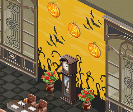 壁紙「ハロウィン」2 黄色、壁掛けかぼちゃランプ、コウモリ、祖父の時計、チャイナ ローズ(マイカフェ:レシピ&ストーリー)