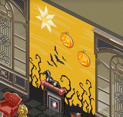 壁紙「ハロウィン」2 黄色、壁掛けかぼちゃランプ、巨大な星(マイカフェ:レシピ&ストーリー)