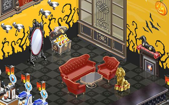 ドラキュラ伯爵の居間風のソファ席(マイカフェ:レシピ&ストーリー)