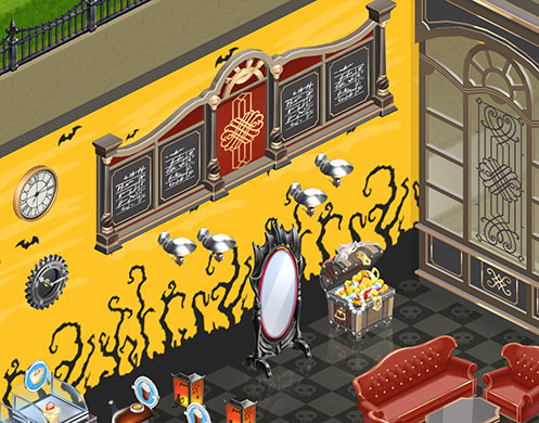 メニュー「オックスフォード」、ウォールランプ「ヨークシャー」、神秘的な鏡、宝物の入った宝箱(マイカフェ:レシピ&ストーリー)