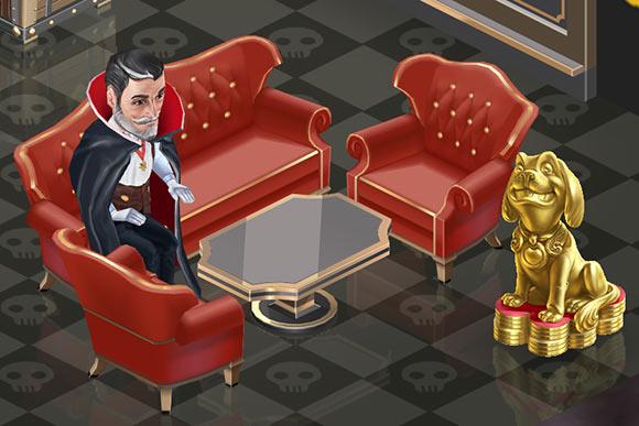 血の色のソファに座る、ドラキュラ仮装のディエゴ(マイカフェ:レシピ&ストーリー)