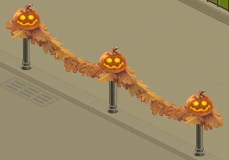 ハロウィンデコの飾られたボラード(マイカフェ:レシピ&ストーリー)